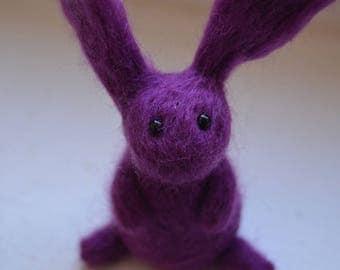 Purple Little Needle Felt Rabbit, Handmade,Bunny,Hare,Woodland,Critter,Needlefelt,Animal,Soft Sculpture, OOAK, Fibre Art, Miniature, Gift
