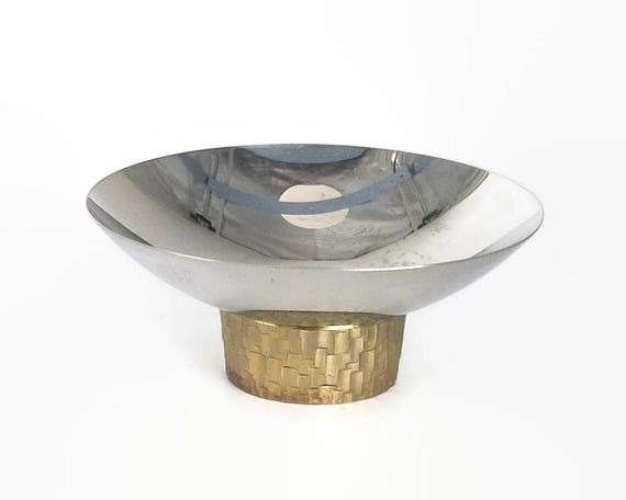 Small vintage bowl, Viners by Stuart Devlin, modernist, stainless steel with gilding, Sheffield, England, circa 1970s