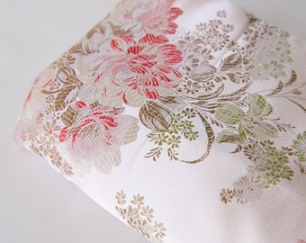 BTY Vintage Woven Brocade Fabric Pastel Satin Roses- 152-L7S