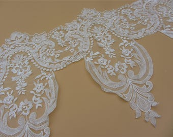 Vintage lace trim in 53cm ,off white Cotton sunflower Embroidered Lace Trim Retro Textured Florals ,ivory white lace edge