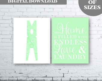 Laundry Wall Art Print. Set of Two (2)-Instant Download. Peg Wall Art. Clothes Pin. Mint Laundry Printable Art. Laundry Quote Wall Art. Mint