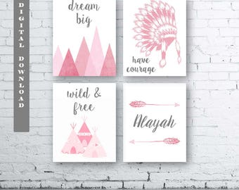 Girls Boho Wall Art-Set of Four (4) - Digital Download. Boho Tribal Nursery. Baby Girl Tribal Art. Girls Boho Bedroom Decor.Girls Tribal Art