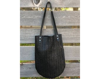 Limited Edition LUNA TOTE Black Mesh Leather • Leather Bag