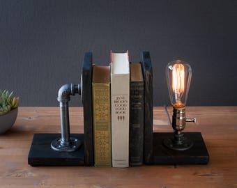 Bookend lamp/Rustic decor/Industrial lamp/Steampunk light/Unique lamp /Housewarming