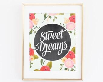 8x10 Art Print, Nursery Printable, Sweet Dreams Nursery, Pale Blue Vintage Floral, Instant Download, Printable File, Chalkboard