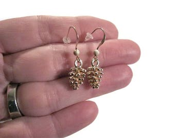 Gold Pine Cone earrings, Holiday 14k filled hook earring, Dangle earrings