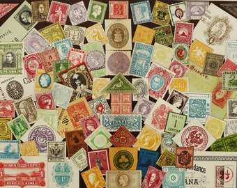 1900 Antique lithograph of POSTAGE STAMS, different types. Stamp collecting. Philately. 118 years old nice print