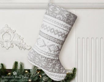 Quilted Christmas Stocking, Quilted Stocking, Quilt Stocking, Gray Christmas Stocking, Gray Stocking, Gray and White Stocking, Cabin Decor