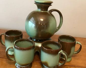 Vintage Frankoma Prairie Green Coffee Set w/ Warmer and 4+1 C2 Mugs