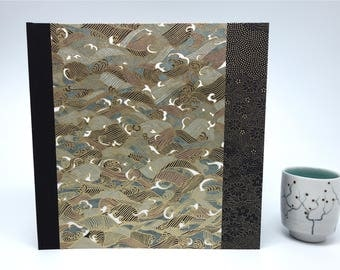 "Japanese paper ""black waves"" - square photo album anniversary album, wedding guest book, polaroid guest book"