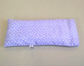 Lavender eye pillow in purple with white spots, for yoga or relaxation, yoga eye pillow, lavender eye mask, lavender eye pillow
