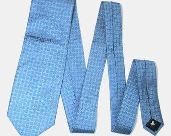 Mario Valentino Check Blue Color Silk Necktie Tie