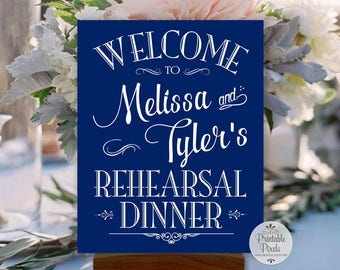 Navy Blue Rehearsal Dinner Printable Welcome Sign, Personalized with Names (#REH1U)
