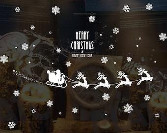 Santa, Reindeer & Sleigh - White - AW6028