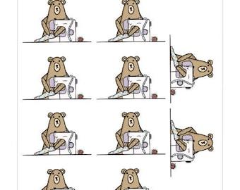 008-Grumpy Bear Loves Sewing planner sticker sheet