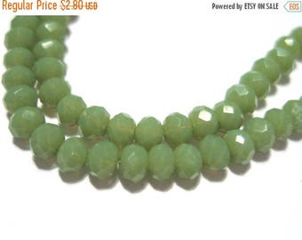 "50% OFF Clearance Sale-- 1 Strand 15"" Olive Green Faceted Rondelle Glass Crystal Beads 3x2mm( No. R135)"