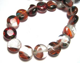1 Strand Handmade Red Lamp work Glass Beads 10x5mm Flat Round( No.4)