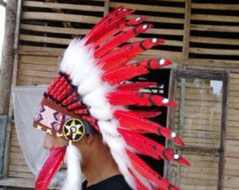 Inspired Indian Headdress - Cool White Red Warbonnet Indian Headgear - Artisan Feather Headdress - Costume Headpiece Native American