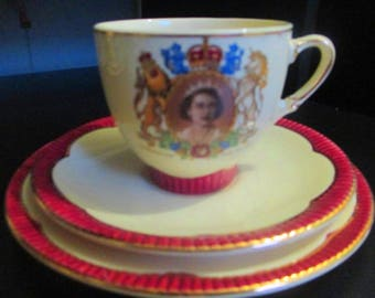 Rare Red Clarice Cliff Elizabeth II Coronation Trio Cup Saucer and Plate - 1953