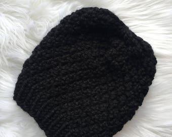 Handmade Knit Hat, Black Knit Hat, Chinky Knit Hat, Knit Linden Hat, Knit Pom Pom Hat, Ready to Ship
