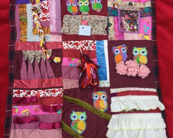 Fidget Quilt/Sensory Blanket- Bright Owls