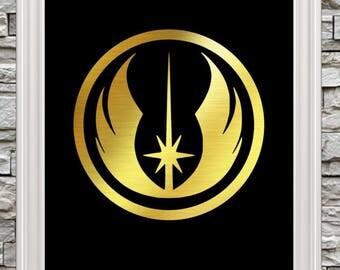 "New 8""x10"" Foil Art!  Jedi Emblem / Symbol  - Ready to Frame"
