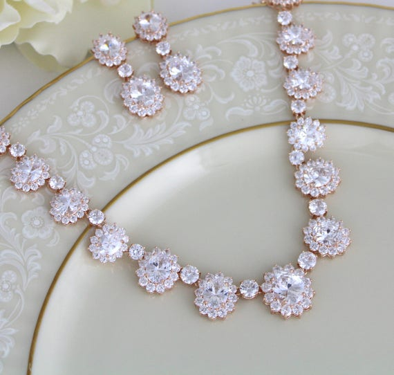 Rose Gold Wedding necklace Bridal jewelry Rose Gold jewelry