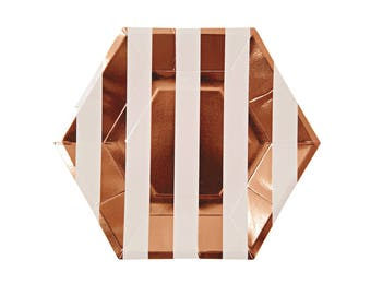 Rose Gold Hexagon Paper Plates, Rose Gold Striped Party Plates, Bridal Shower, Baby Shower, Rose Gold Birthday, Party Tableware, Meri Meri