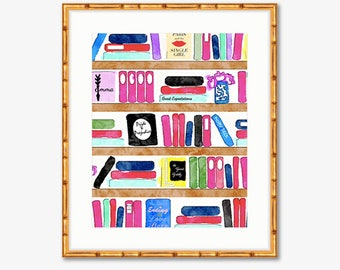 Brainy Beauty's Bookshelf -- Art Print -- Home Decor -- Live Colorfully