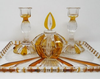 Art Deco Style Pressed Glass Dressing Table Set