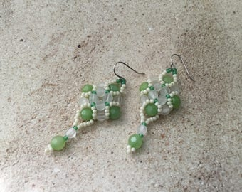 Dangle Bead Handmade Earring/  1 Pair/Glass Seed and Crystal Beads/Assorted Colors