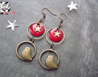 Earring bronze ring and sequins red bird