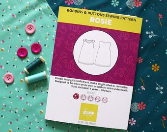 Sewing kit - Rosie reversible pinafore dress - Dashwood cotton candy design.