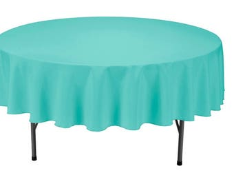 Attractive Turquoise Round Wedding Linentablecloth 90 Inch Round Banquet Polyester,  Wrinkle Resistant Quality Tablecloth For Special