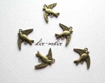set of 5 pretty swallow bird connector charms