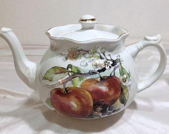 Vintage Arthur Wood & Son Staffordshire APPLE Teapot 6366 England Never Used