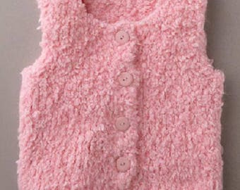 jacket vest baby birth in 24 months pink woolen home-made knitting(sweater)