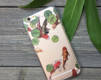 Koi Pond iPhone Case, Your choice of Soft Plastic (TPU) or Wood