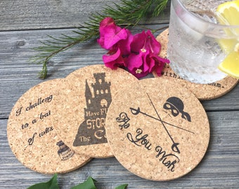 Princess Bride Cork Coaster Quotes Set of 4, a Classic Fairy Tale with Romance and Adventure