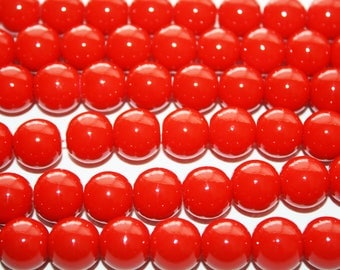 Red Glass Beads 12mm - 34ct - D240
