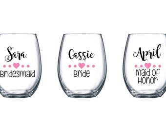 3 Wedding Wine Glasses Bridesmaids Wineglasses / Bachelorette Stemless Wine Glasses /Bachelorette Wine Glass for Bride Stemless Wine Glass