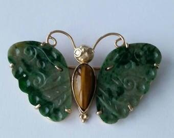 14k jade butterfly brooch