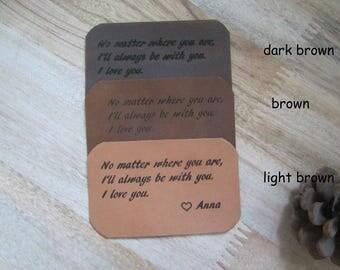Leather Wallet Insert Card, Custom Laser Engraved Wallet Card,Anniversary Gift,Custom Personalized Wallet Card,Wallet Love Card,Love Note