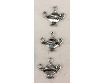 Oil Lamp CHARM (3) antique pewter - 3 charms per pack Israel Ten Virgins