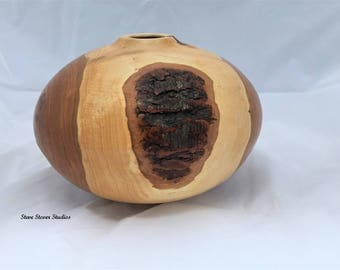 Black Cherry Hollow Form - Hollow Ellipsoid - Wood Turned Hollow Form - Wood Turned Art