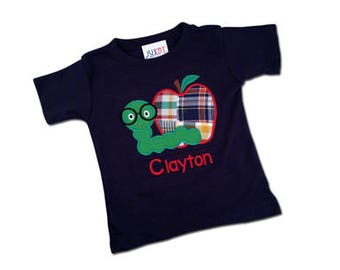 Boy Apple School Shirt with Worm and Embroidered Name