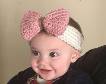 Baby Girl, Toddler Crochet Big Bow Headband