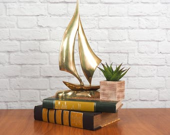 Vintage Brass Sailboat Sculpture, Nautical Decor, Sailor Gift