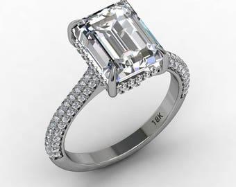 Forever One Moissanite Ring 18k White  Gold Diamond Engagement Ring Center Emerald Cut 3.55ct & .45ct Natural Diamonds Pristine Custom Rings