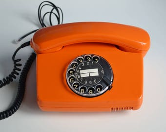 Orange Telephone, Vintage Rotary Phone, Working Retro Phone, European Vintage Home Decor, 80s Office Telephone, Vintage Gift, Bright Phone